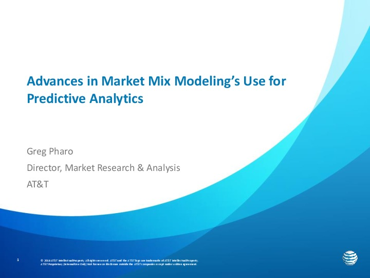 Advances in Market Mix Modeling's Use for Predictive Analytics