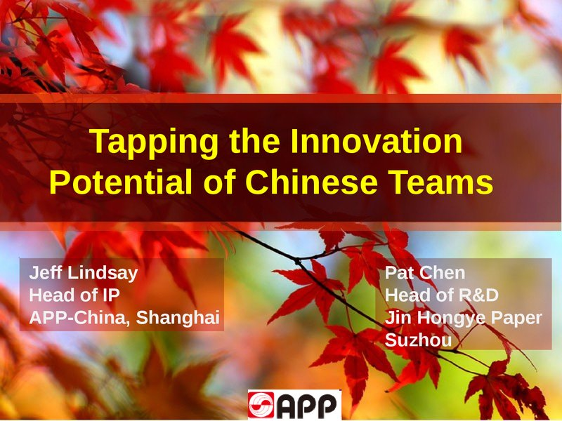 Finding Innovation Success with Chinese Teams