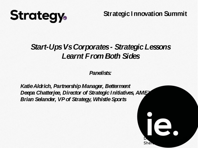 Start-Ups Vs Corporates - Strategic Lessons Learnt From Both Sides