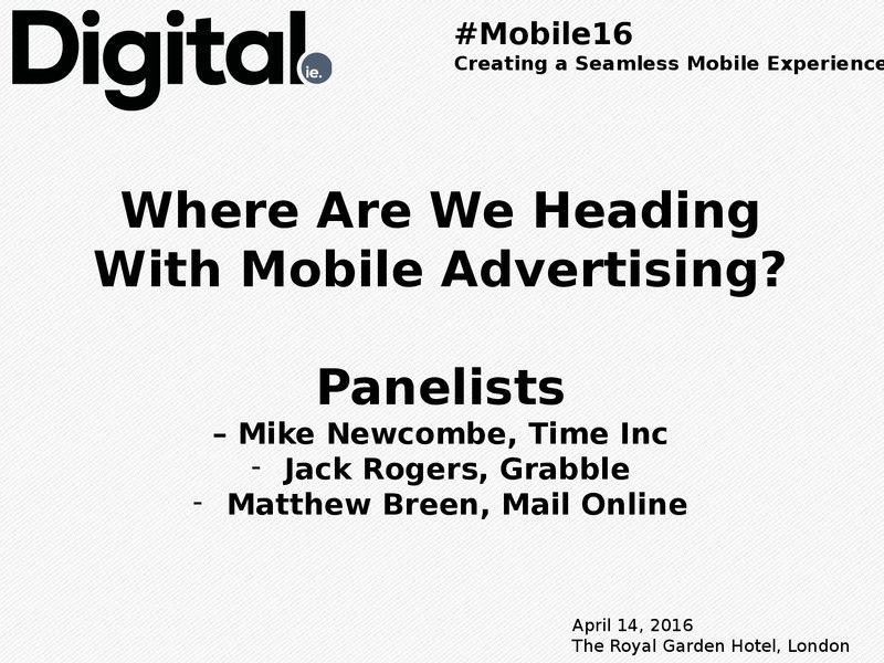 PANEL - Where Are We Heading With Mobile Advertising image