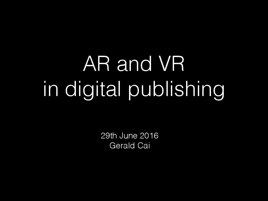 AR/VR in Publishing