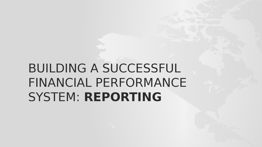 WORKSHOP: Building a Successful Financial Performance Management System