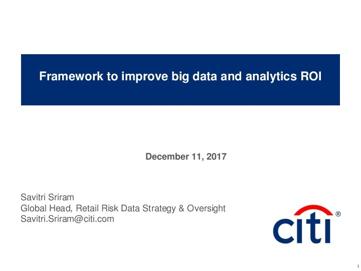 A Framework to Improve your Big Data and Analytics ROI