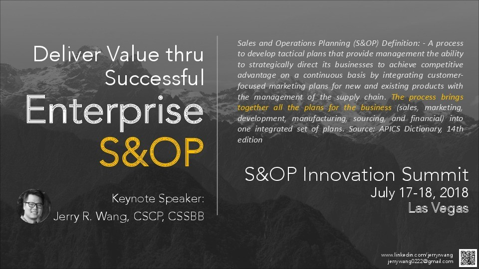 Deliver value through successful enterprise S&OP