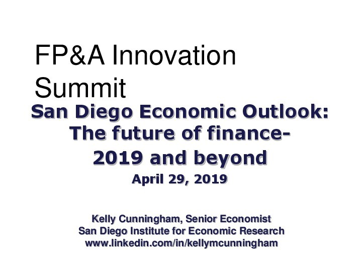 Economic Outlook: The future of finance- 2019 and beyond