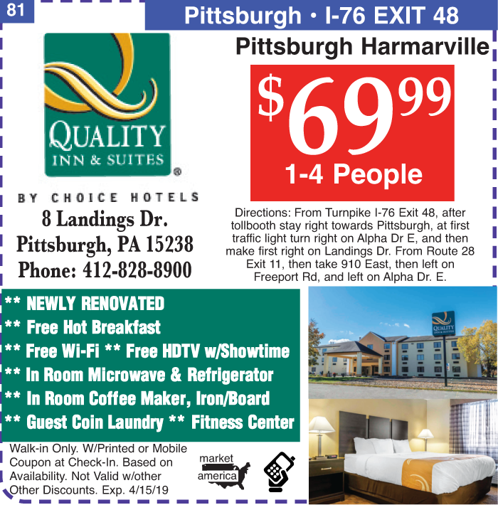 Quality Inn & Suites - 8 Landings Dr , Pittsburgh, PA 15238