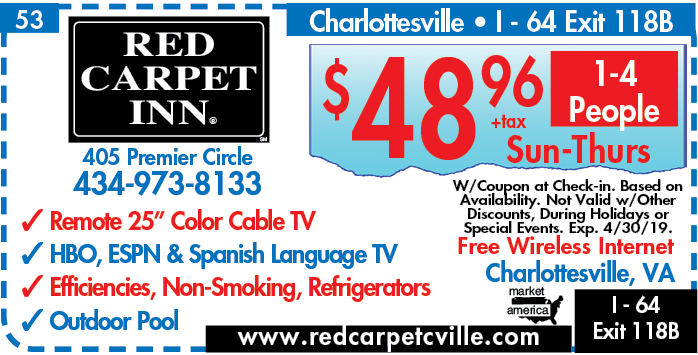 Red Carpet Inn - 405 Premier Cr, Charlottesville, VA 22901 - Exit 121 - Interstate I-64 in Virginia - iExit