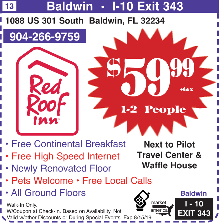 Red Roof Inn 1088 Us 301 South Baldwin Fl 32234 Exit