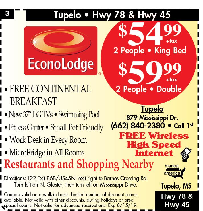 Econo Lodge - 879 Mississippi Dr, Tupelo, MS 38801 - Exit 85