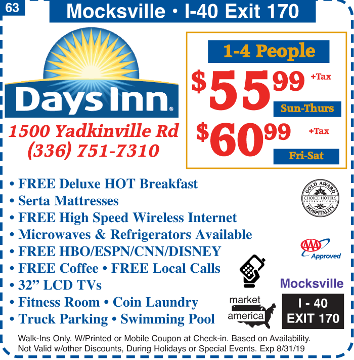 Days Inn - 1500 Yadkinville Rd , Mocksville, NC 27028 - Exit 170