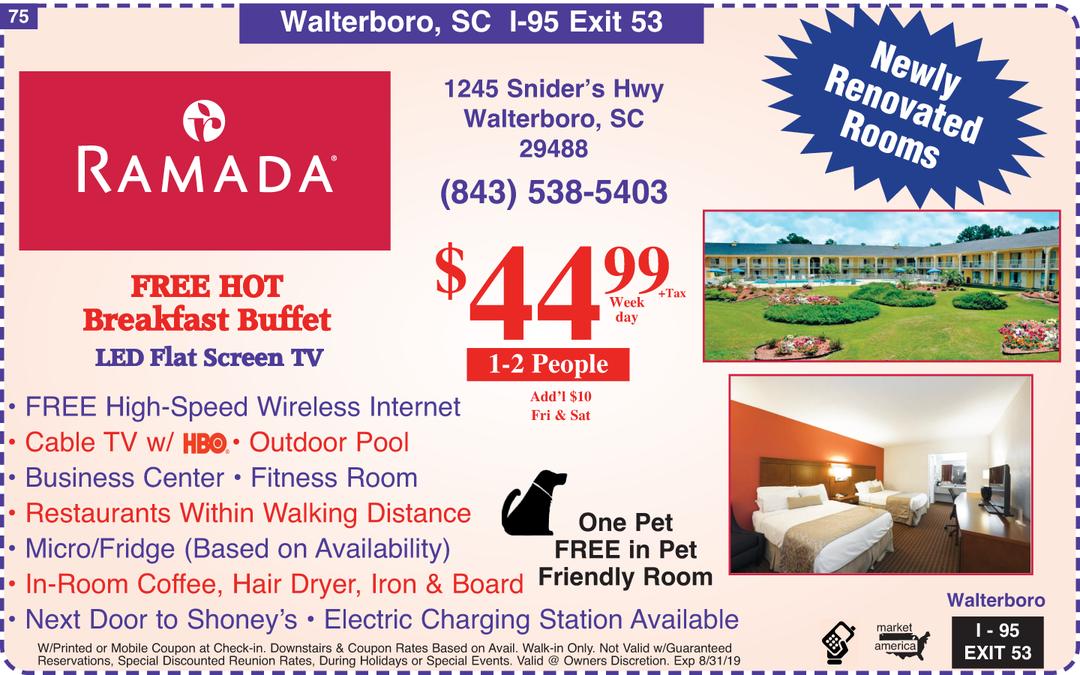 Ramada - 1245 Snider's Hwy , Walterboro, SC 29488 - Exit 53