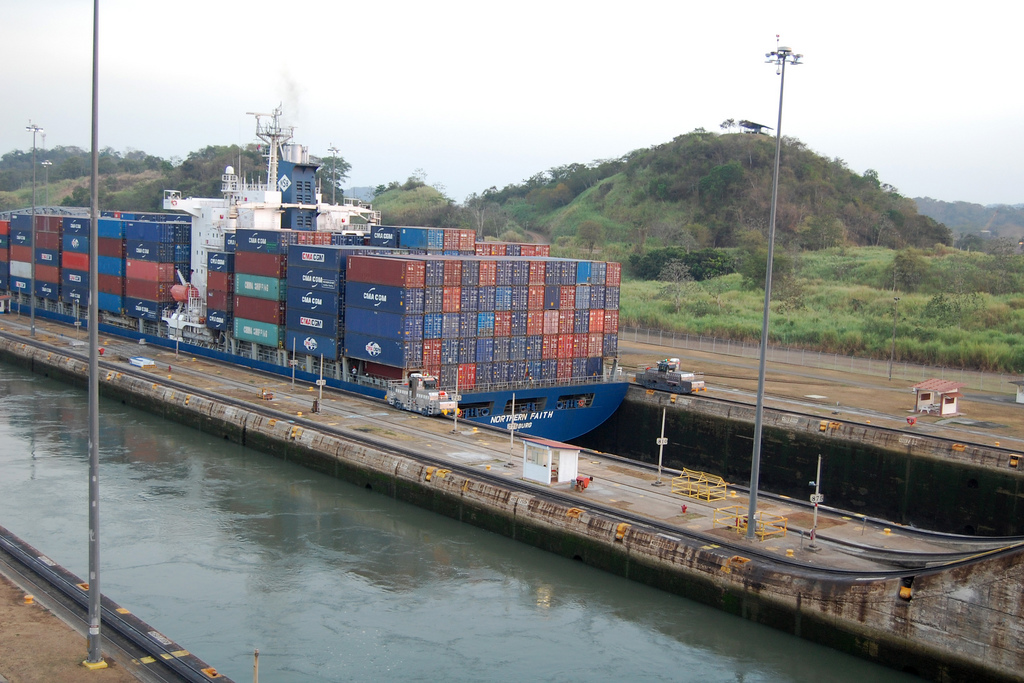 """Ship passing through Miraflores Locks"" by Christine and John Fournier via Flickr Creative Commons"