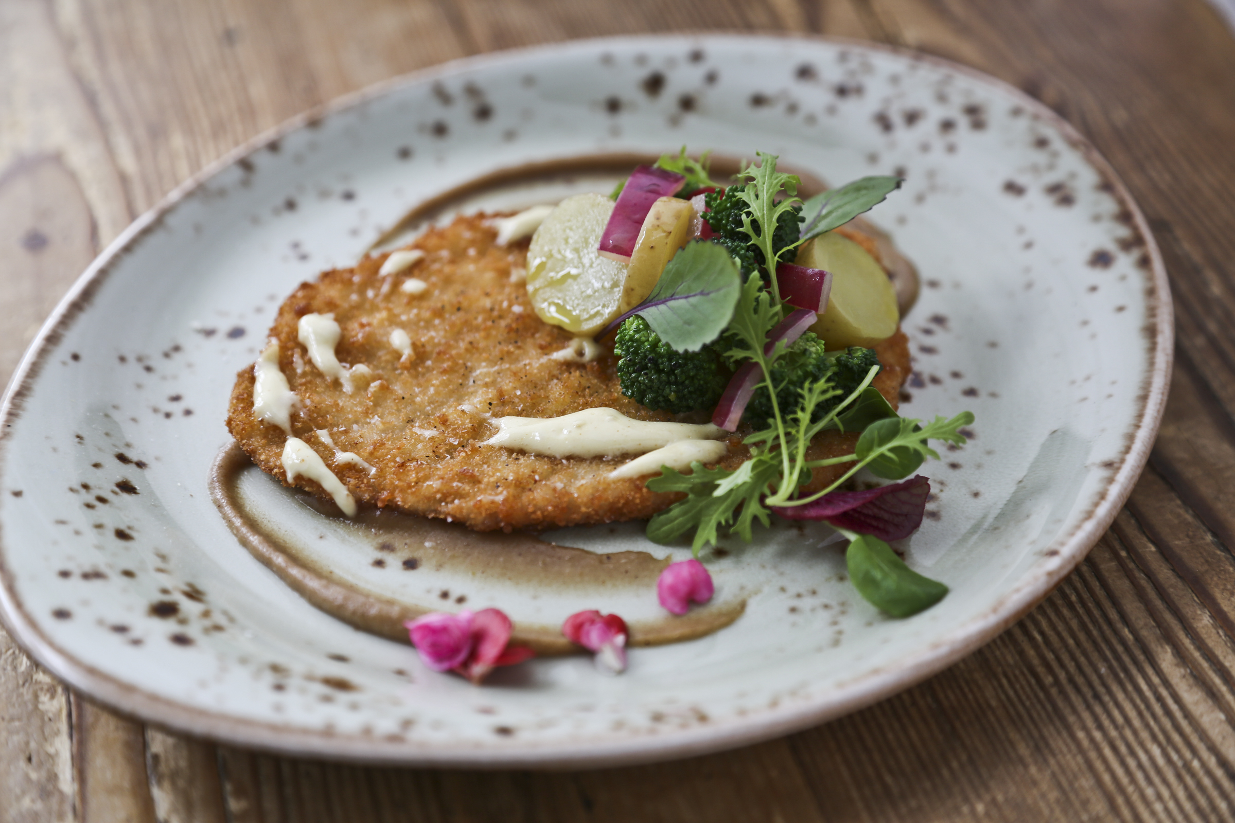 Pork Schnitzel with Charred Broccoli and Spiced Apple