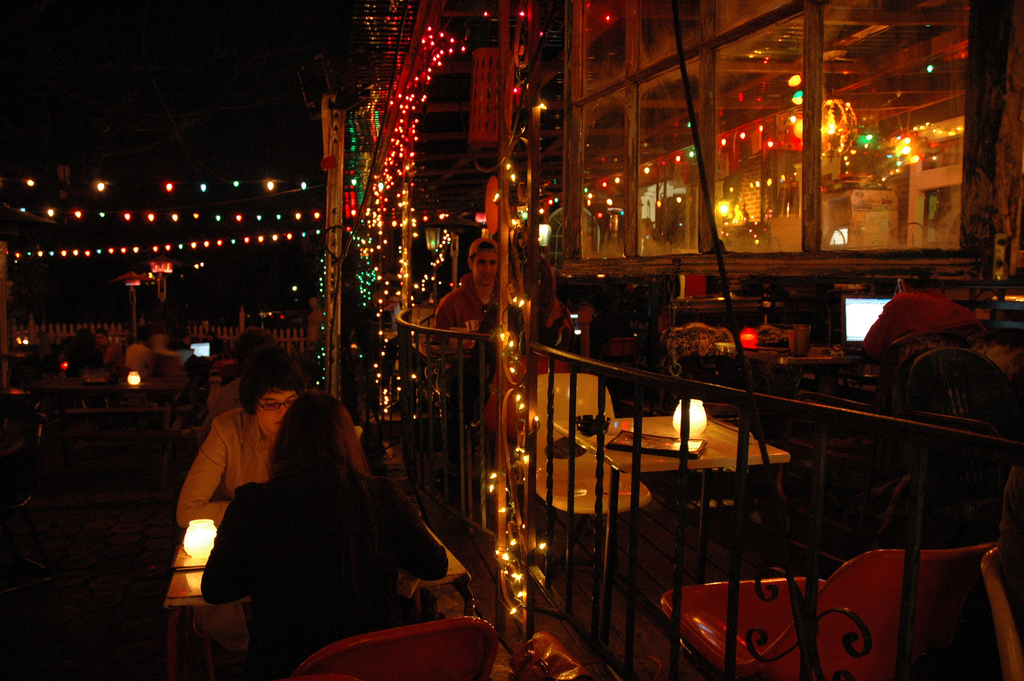 """Spiderhouse Patio at Night"" by Laura Taylor via Flickr Creative Commons"