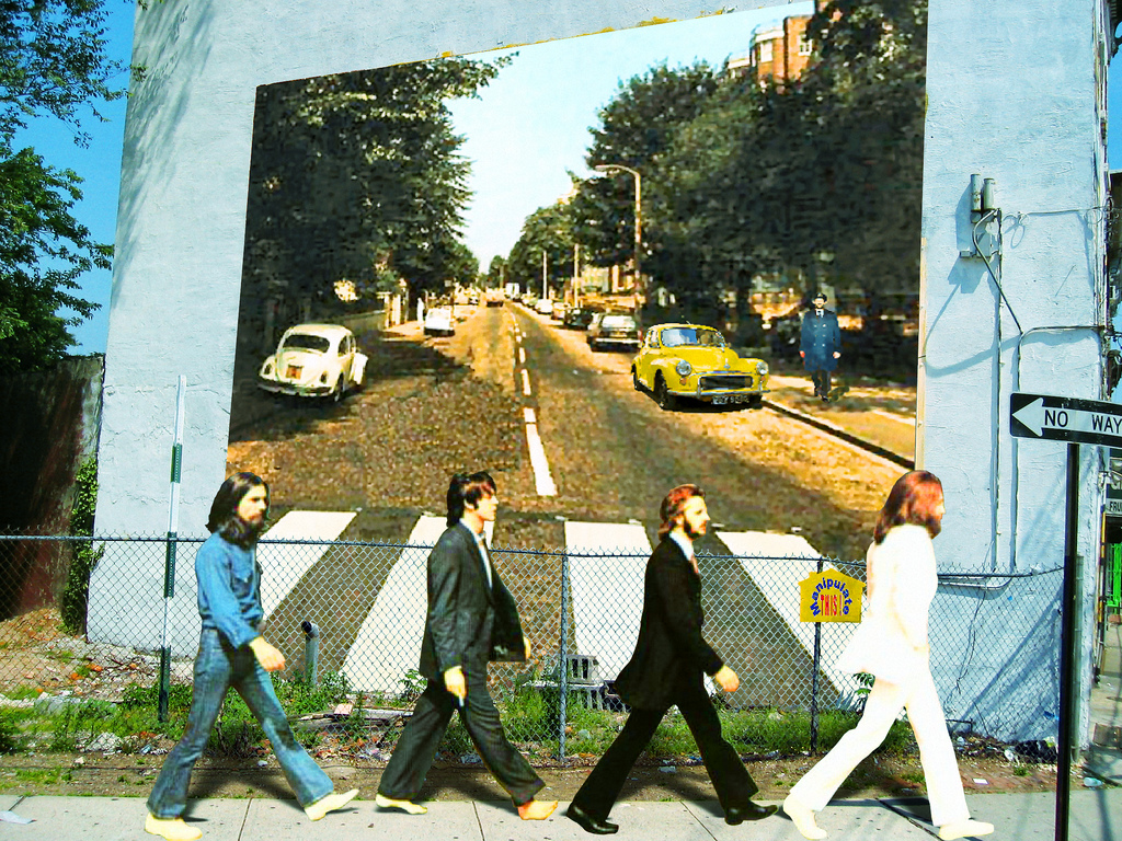 An annual beatles lovers reunion in kentucky for Beatles abbey road wall mural