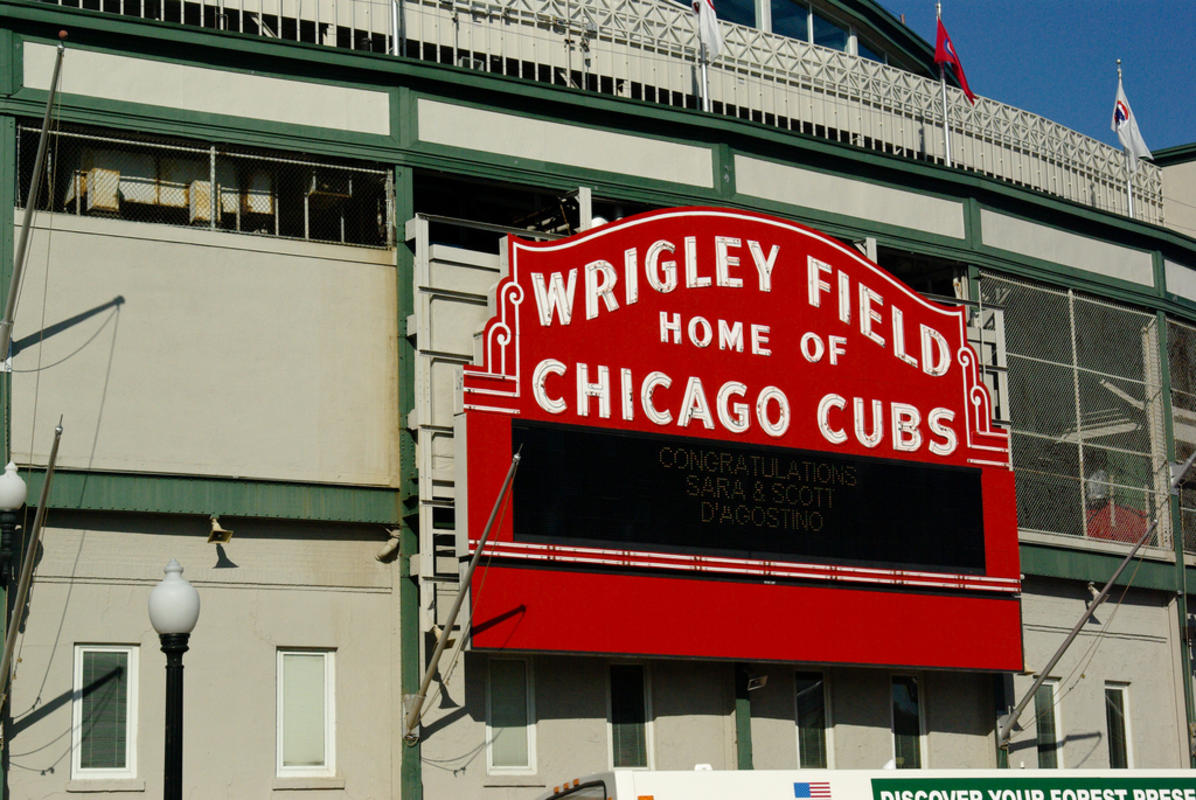 """Wrigley Field Sign"" by Aaron Warren via Flickr Creative Commons"