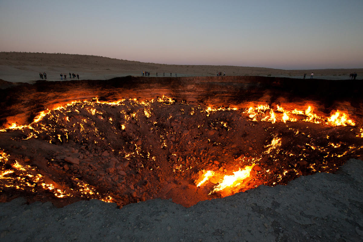 This pit in Turkmenistan has been burning for more than 40 years. Photo Credit: Martha de Jong-Lantink via Flickr