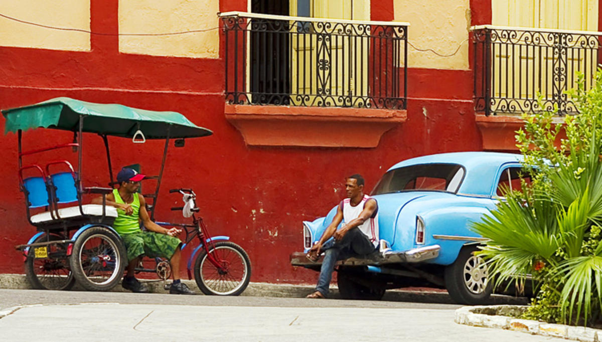 """Cabbies at the Red Wall---Santiago de Cuba, Cuba"" by Jack Wickes via Flickr Creative Commons"