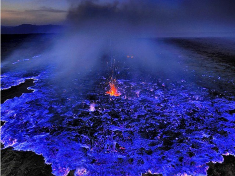 Only One Place In The World Has An Electric Blue Volcano
