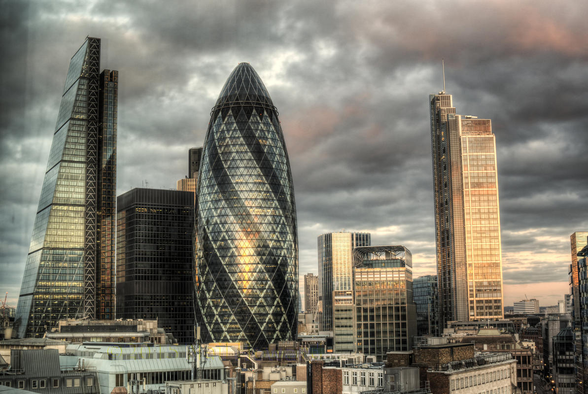 The Gherkin in London at Dawn by Neil Howard via Flickr Creative Commons