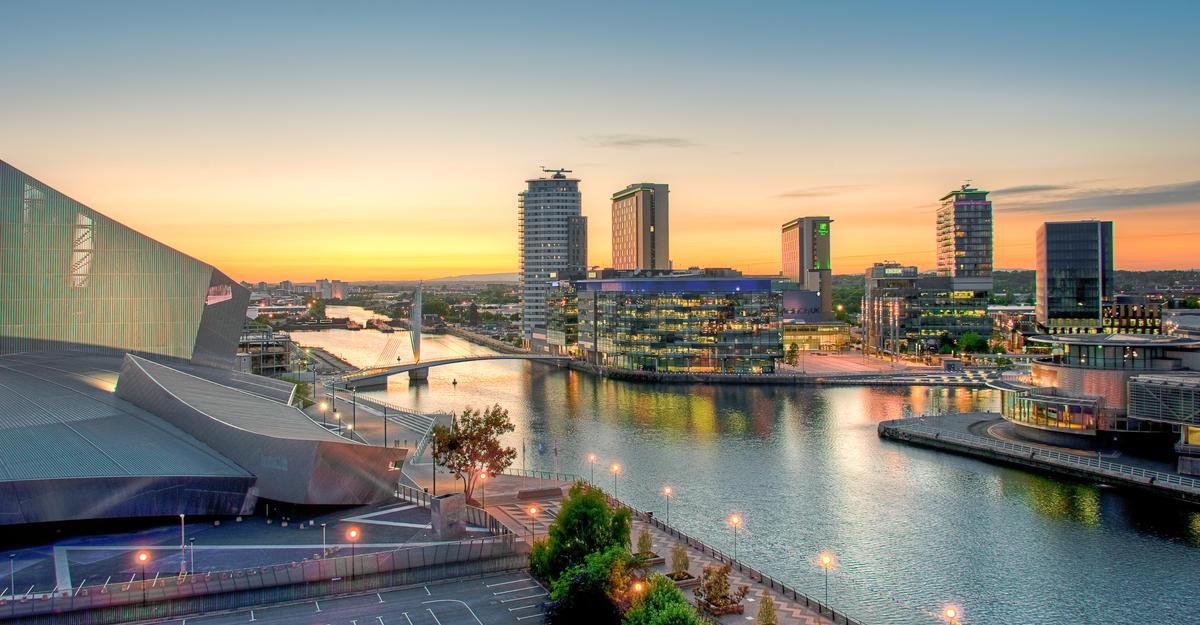 MediaCityUK, Salford Quays (dusk) by Marketing Manchester