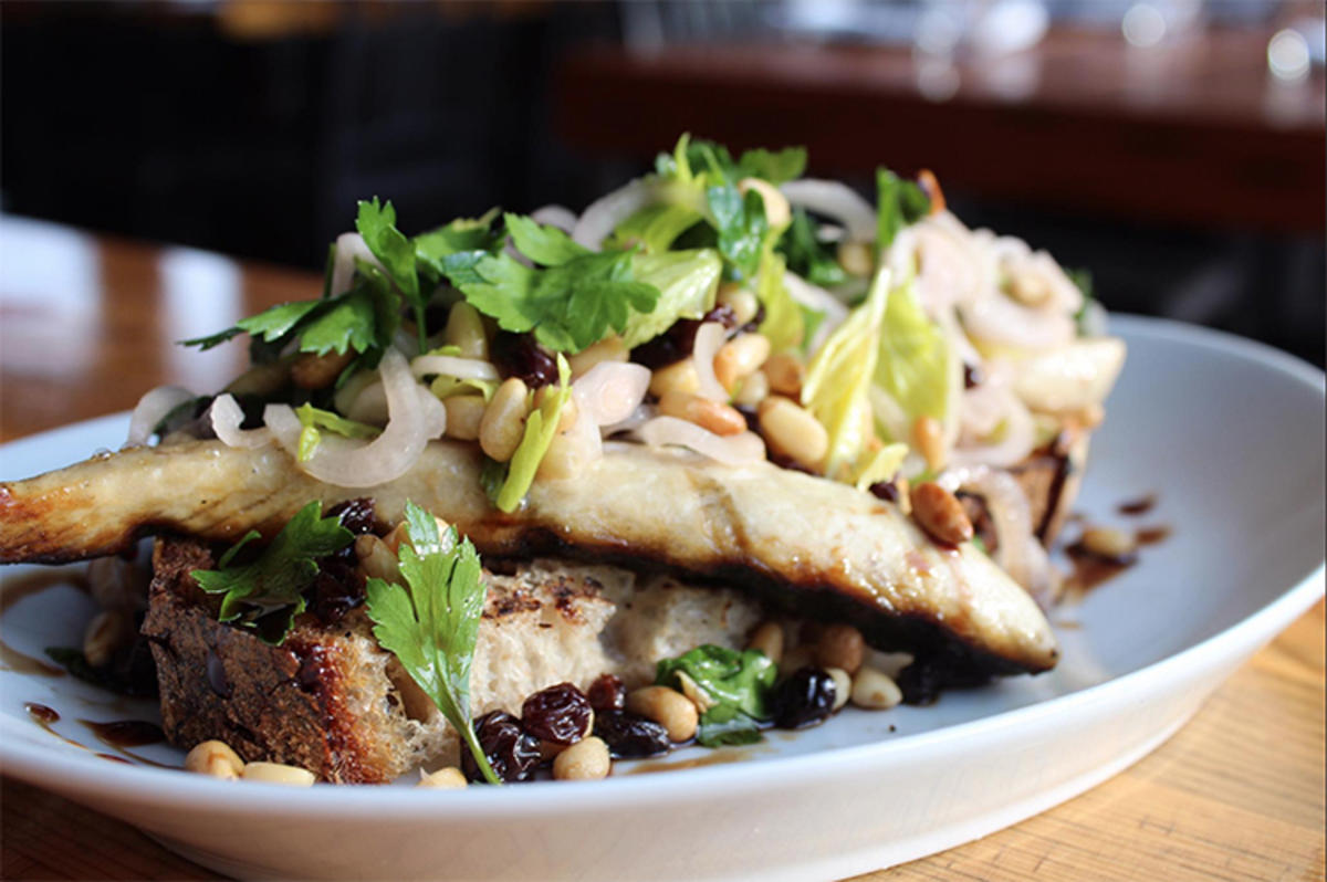 """""""Grilled Norwegian Mackerel 'In Saor', Currants, Pine Nuts, Pickled Shallots and Celery"""" by Rock Creek via Facebook"""