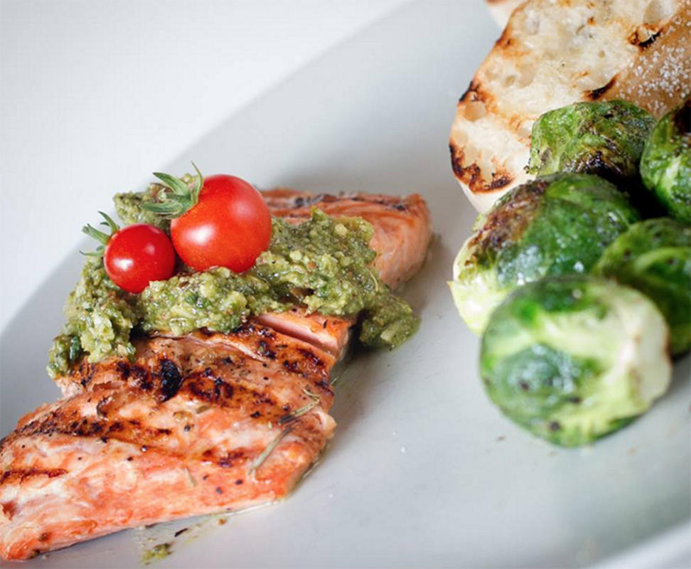 """""""Wild Alaska Salmon with Pretty Pesto with Roasted Brussels Sprouts and Grilled Bread with Roasted Garlic"""" by Kara McGowan Jovag via Facebook"""