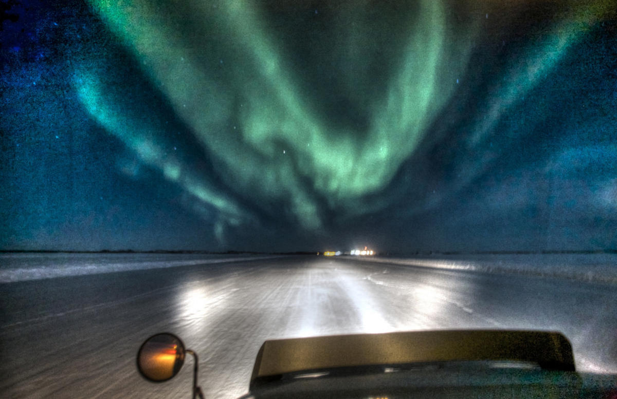 """Approaching Lockhart under the Aurora: Ice Road Trucking"" by Nonac_Digi via Flickr Creative Commons"
