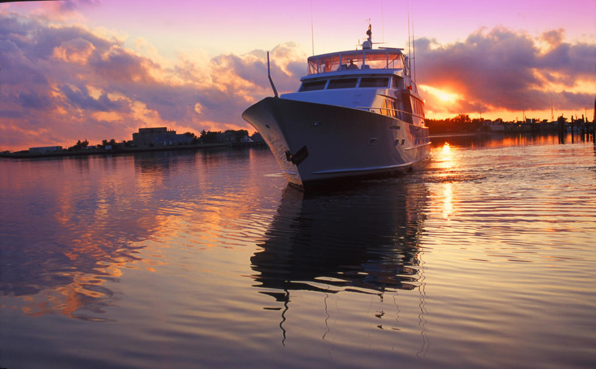 Boat with ICW Sunset by Wilmington and Beaches Convention & Visitors Bureau