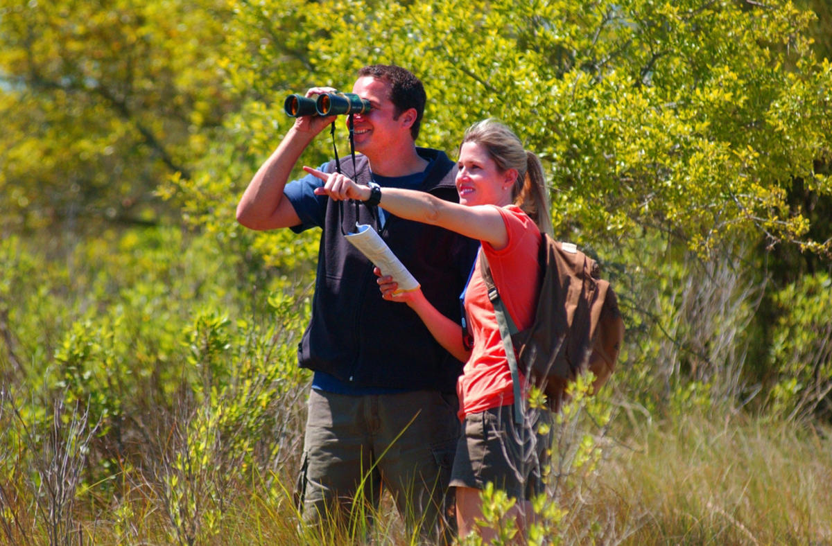 Couple on Birding Trail by Wilmington and Beaches Convention & Visitors Bureau