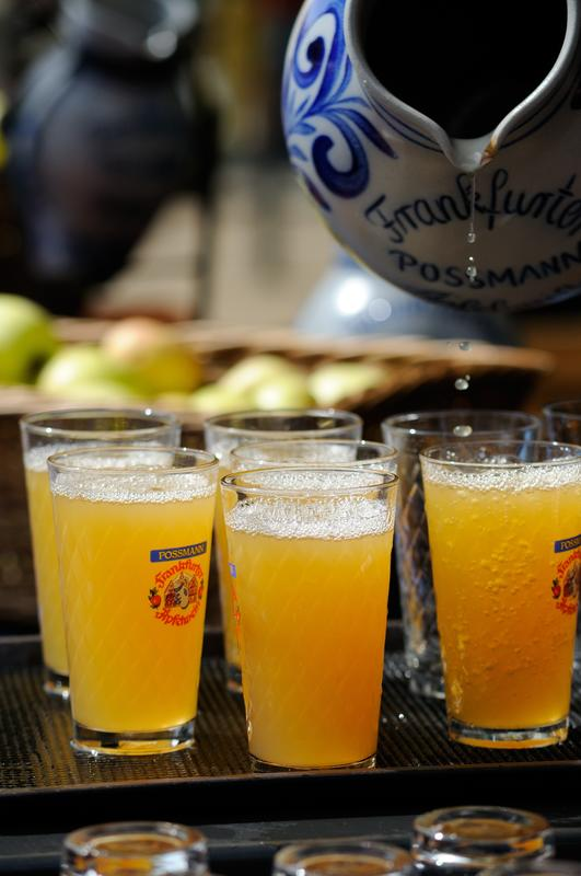 'Apfelwein' (cider) in a 'gerippte' (traditional glass). Photo courtesy of Tourismus+Congress GmbH Frankfurt am Main