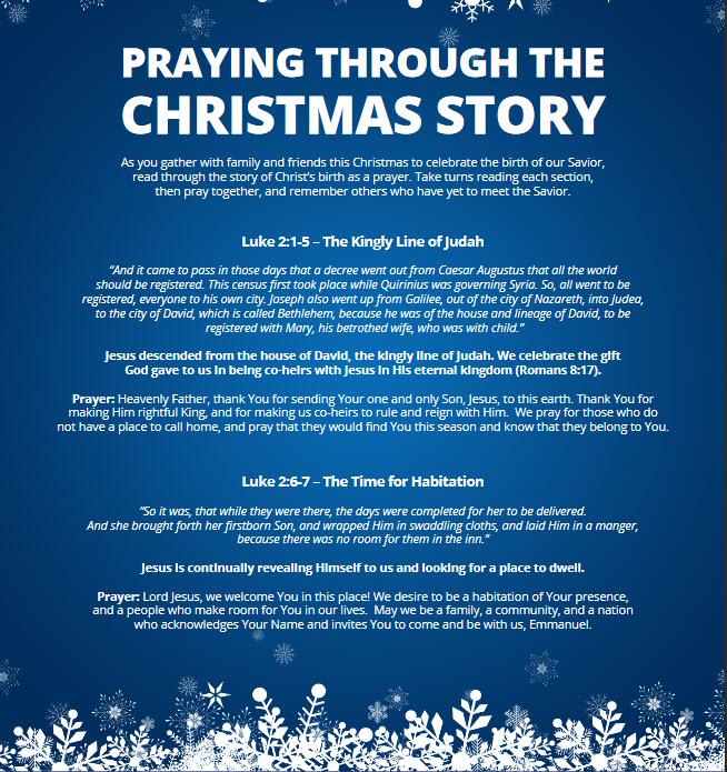 Free Christmas Story Prayer Guide