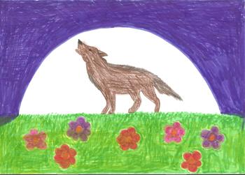 Den zweiten Platz bekam Selina, 7 Jahre, mit diesem schönen Wolf vor dem Mond.