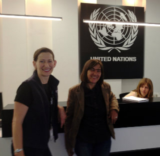 Becky Brimley (left) with Elzamina Bojicic at UN HQ in Sarajevo.