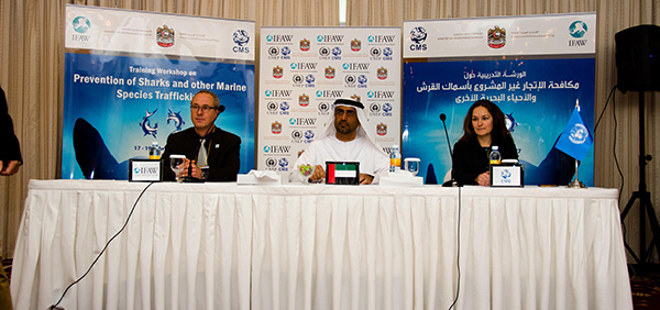 ©IFAW/A.Skene -- From left to right: Peter Pueschel, IFAW's Director of the International Environmental Agreements, H.E. Sultan Alwan, Assistant Undersecretary for Water Resources and Nature Conservation from Ministry of Environment and Water and Andrea Pauly, Associate Programme Officer at CMS Secretariat