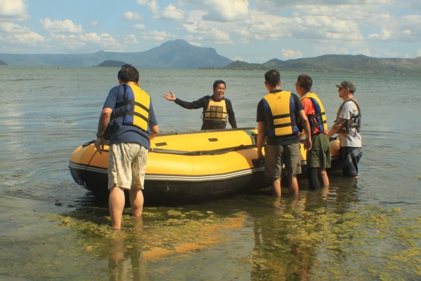 Workshop participants conducting a training exercise in Taal Lake.