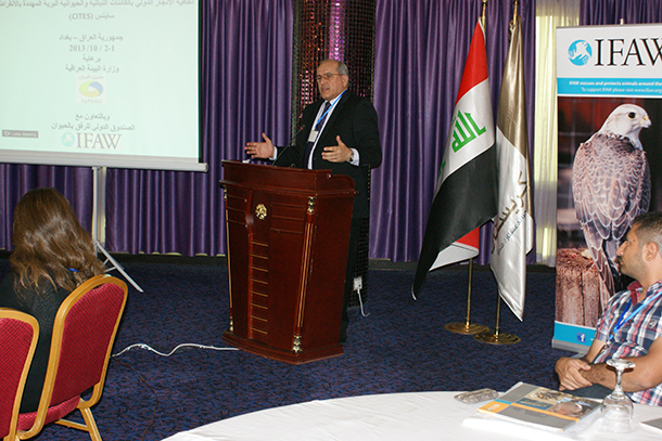 Environment Deputy Minister, Dr. Ali Alami, speaks - on behalf of the Minister of the Environment - in the opening session, in the workshop in Baghdad October 1-2, 2013.