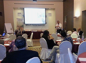 Dr. Elsayed Mohamed presenting during the recent training in Lebanon.