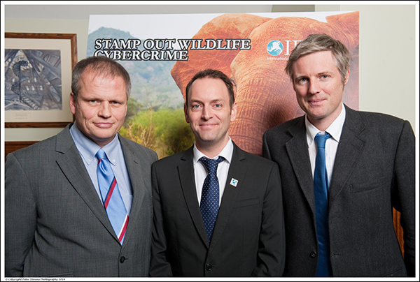 Speakers at IFAW's launch event, Martin Sims, Head of the NWCU; Philip Mansbridge, UK Director of IFAW; Zac Goldsmith MP