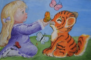 One of the submissions to the Russian Darwin Museum tiger art competition.