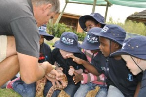 Young visually impaired South African pupils lean in close to learn about their wildlife.