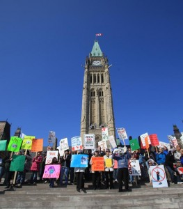 Opponents of the Canadian commercial seal hunt gather on Parliament Hill for the International Day of Action for Seals.