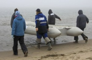 The IFAW western gray whale team heading out from Piltun Island in Russia.