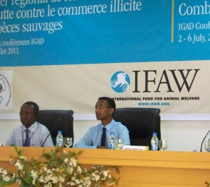 IFAW's James Isiche and the Secretary General.