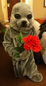 Sally the Seal offers a Valentine's Day flower to the people of Nova Scotia.