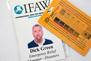 IFAW Disasters Manager Dick Green's ID and radiation badge.