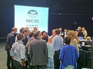 IWC 63: Delegates from the European Union scrum during a break.