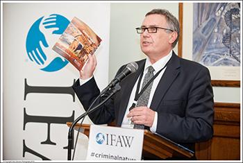 IFAW UK Director Robbie Marsland speaking at the UK parliamentary launch of 'Criminal Nature'.