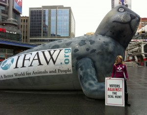 Seal campaign director Sheryl Fink and the International Fund for Animal Welfare's Sparky the Seal