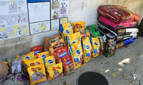 The goal of 1 ton of pet food was exceeded by an additional half ton, totaling 1.5 tons.